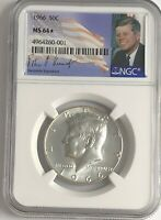 1966 P NGC MS64 STAR SILVER KENNEDY HALF DOLLAR JFK COIN SIGNATURE 50c