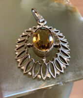 Vintage A&D Rolled Gold Oval Pendant With Oval Yellow Stone, Andreas Daub