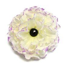 "Purple tipped White Silk Flower Hair Clip 4.5"" Carnation Onyx Crystal Handmade"