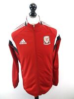 ADIDAS WALES Mens Tracksuit Top Track Jacket M Medium Red Polyester