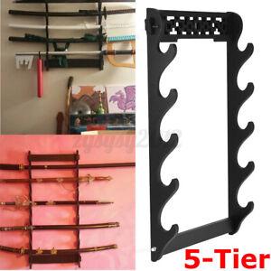 5 Tier Sword Holder Wall Mount Samurai Stand Display Katana Wall Hanger Rack