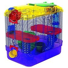Hamster 2 Level Habitat Tunnels Play Area Small Pet Cage Exercise Wheel Tubes