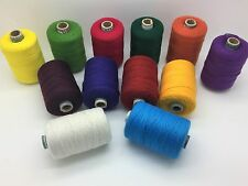 12 x HEAVY DUTY 800M ASSORTED COLOURS SPOOLS 100% POLYSTER SEWING THREAD UK