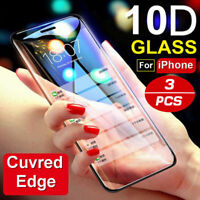 For iPhone XR Xs Max X 8 7 6 10D Full Cover Real Tempered Glass Screen Protector