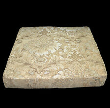 we59t Dk. Olive Pale Gold on Sand Damask Flower Cotton 3D Box Seat Cushion Cover