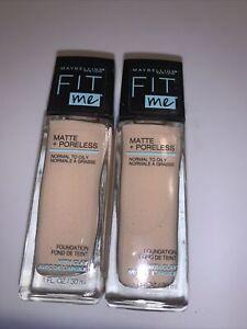 2~Maybelline Fit Me Matte + Poreless Foundation, #105 Fair Ivory, 1 fl oz Ea