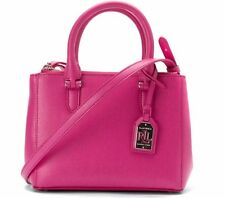 Ralph Lauren Newbury Mini Double Zip Satchel Purse Crossbody Raspberry Pink NWT