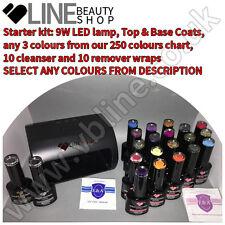 Top & Base & 3 colours VB® Line UV~LED nail gel polish starter kit 9W LED lamp|