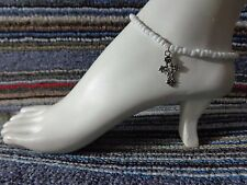 ankle bracelet beads anklet stretchy Cross silver tibet alloy charm