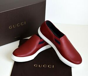 GUCCI Luxus Mens Shoes Sneakers Leather red EU 43,5; UK 9,5; US 10 Mokassins