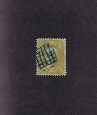SC# 67a USED 5c JEFFERSON, 1861, BLUE SQUARE GRID FANCY CANCEL, PF CERT!