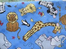 2 Curtain Panels Baby Animals  Giraffe Lion Hipo Elephant Penguin Zebra & More