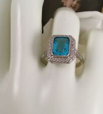 Vintage Jewellery Gold Ring London Topaz White Sapphires Antique Deco Jewelry