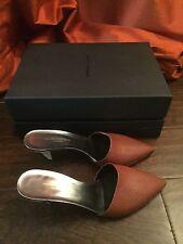 NIB Narciso Rodriguez Brown Athena Mid Heel Slide Mule Sz 37.5 7.5 $750