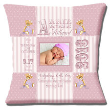 "PERSONALISED BIRTH Name Date Time Weight PHOTO Teddy 16"" Pillow Cushion Cover"
