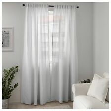 1 Pair 100% Cotton Ikea White Curtains TIBAST Bedroom Window Blinds 250x145cm