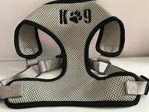 Gray Mesh Harness with Black Piping and Black Paw K9 on the Chest plate
