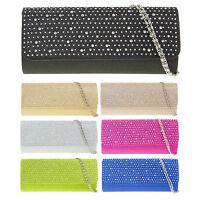 Satin Diamante Over-Flap Ladies Clutch Bag Evening Handbag Bridal Bag K(2232)