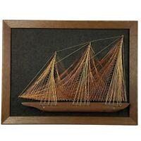 """Vintage Framed Nail String Art Ship on Velvet MCM Nautical Black 10"""" X 13"""""""