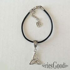 bijou pendentif celtique bretagne gothique triquetra sur bracelet cordon cuir
