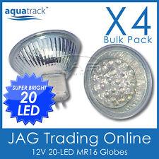 4 x 12V 20-LED MR16 WHITE DOWN LIGHT GLOBES - Boat/Caravan/RV/Cabin/Down Lights