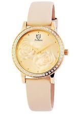 Damen Armbanduhr Pierrini Gold Beige Kristall Steine Analog Quarz Lederband