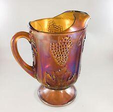 Indiana Carnival Glass Harvest Grape Iridescent Amber Marigold 64 oz Pitcher