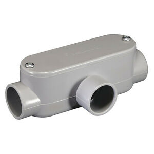 "PVC T Conduit Body 1 1/4"" Type T - use w/ Electrical Schedule 40 & 80 Conduit"