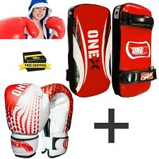 Kick Boxing Gloves 6oz Junior Training Mitts Martial Art Punch Bag Punching Pads