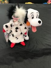 Disney Store Cruella Deville Beanie Plush And 101 Dalmatians Dalmation Plush