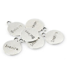 "HELLO 20 Silver  ""Believe Inspire"" Message Charm Pendants 20x16mm(6/8""x5/8"")"