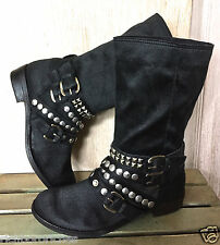 Ash black brushed satin slouchy Cult Studded Motorcycle Boots 38.5/8.5
