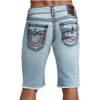 True Religion Men's Ricky Super T Denim Jean Shorts w/ Flap Pockets in Ethereal