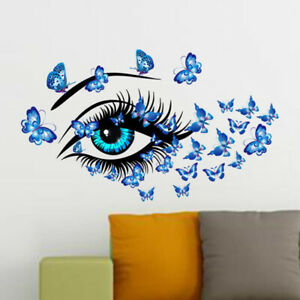 Large Sexy Eye Butterflies Wall Stickers Living Room Bedroom Decor Mural Ar_ZF