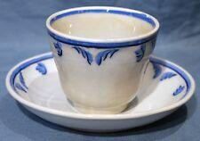 Cobalt/Light Blue Handle-less Cup & Saucer, TULIP, Elsmore & Forster, 1853-1871