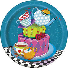 MAD HATTER TEA PARTY SMALL PAPER PLATES (8) ~ Birthday Supplies Cake Dessert