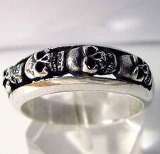Stainless Steel 4 Skull Band Biker Ring MC Custom Size Voodoo Occult R-92ss