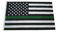 Thin Green Line Flag USA Army Military Law Enforcement Sheriff Deputy Banner