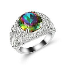 Size 8 Rainbow Topaz Crystal Ring white Rhodium Plated Engagement Wedding Gift