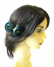 2 x Teal Blue Ranunculus Flower Hair Pins Vintage Rockabilly Clip Rose Bud 1485