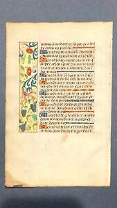 Original Illuminated Manuscript Book of Hours Leaf, Rouen, France  1490