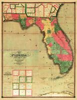 MAP ANTIQUE SEARCY 1829 FLORIDA OLD HISTORIC LARGE REPLICA POSTER PRINT PAM1202