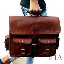 Men's Genuine Vintage Brown Leather Messenger Bag Shoulder Laptop Briefcase a406