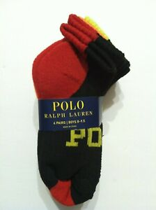 POLO RALPH LAUREN BOYS NEW 6PK BLACK 97%POLYESTER CASUAL SOCKS SHOE SIZE:13-3