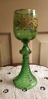 "ANTIQUE MOSER GREEN GOLD BOHEMIAN GLASS 8 1/8"" GOBLET"