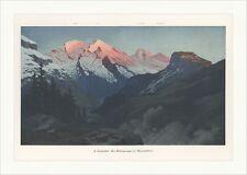 Altelsgruppe im Alpenglühen Bern Schweiz coloriert Rüdisühli Holzstich C 1151
