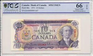 Bank of Canada Canada  $10 1971 Specimen PCGS  66OPQ
