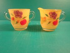 Vintage 1950's Hand Painted Pear Fruit Creamer And Sugar Set