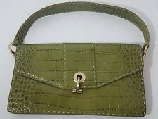 Ann Taylor Handbag Genuine Leather Green Embossed Hook Closure Back Pocket