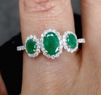 Deal! 1.25 CTW Genuine Natural Emerald & Diamond Ladies Ring 14K Gold